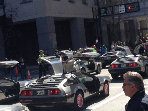 Deloreans on parade